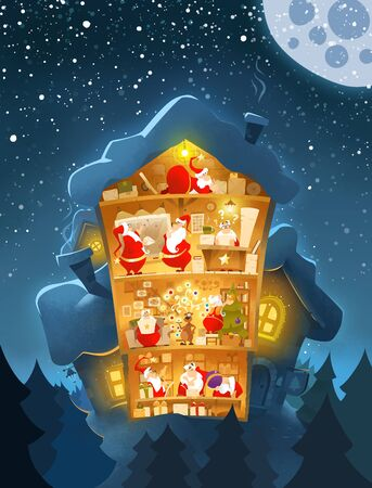 Old-fashioned christmas new year postcard Santas office Stockfoto