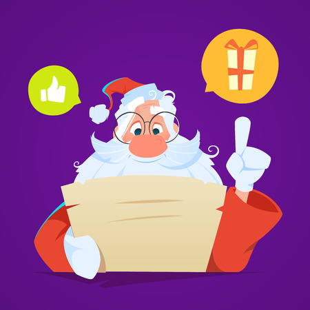 Santa sitting at the table and reading letter Stock Illustratie