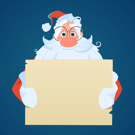 Santa holding a big empty sheet of paper