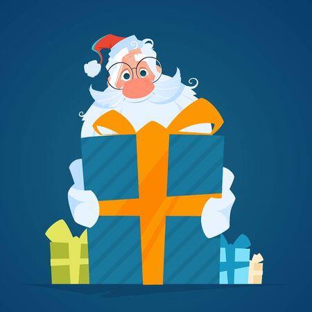 Happy smile santa holding a big gift box