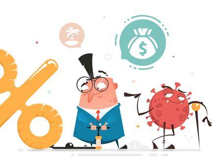 Covid-19 covid 19 covid19 coronavirus and new global financial crisis vector illustration 矢量图像