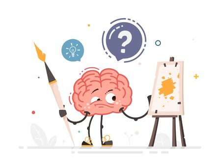 Vector Brain character with big art brush standing near easel making art Stock Illustratie