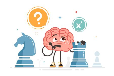 Vector brain character play chess thinking holding chess figure
