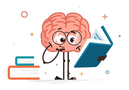 Cute smart brain color vector character reading big book and thinking