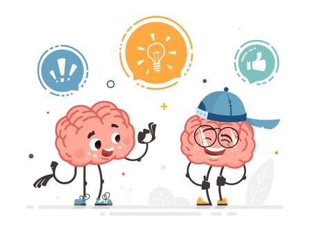 two character brain talking color vector communication illustration Çizim