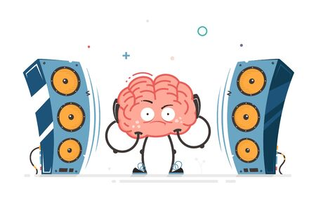 brain vector character listening loud music bad hearing impact