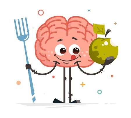happy smile brain vector character holding big apple healthy food concept