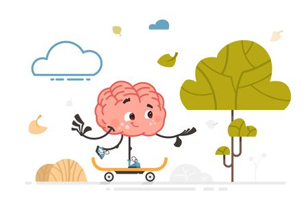 vector brain character on outdoor activity color illustration Çizim