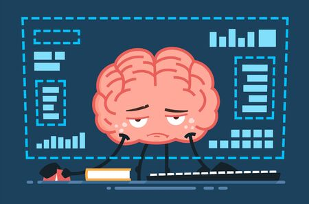 tired vector brain character working in front of the computer at night