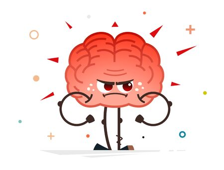 angry red human brain vector character Çizim