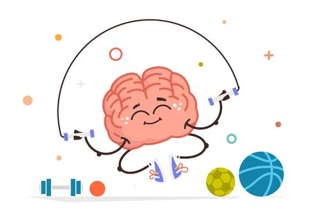 healthy brain vector character do sport with a skipping rope