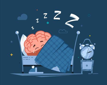 vector human brain character has a healthy sleep in the bed