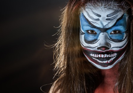 hallowen: Fantasy hallowen make up. Close up shot of Fairy face art.
