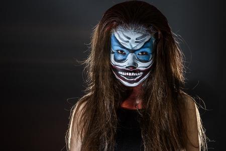 hallowen: Fantasy hallowen make up.  Fairy face art. Stock Photo