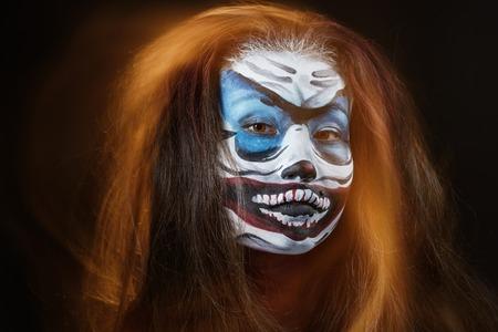 hallowen: Fantasy hallowen make up. Close up shot of Fairy face art. Mixed light technique