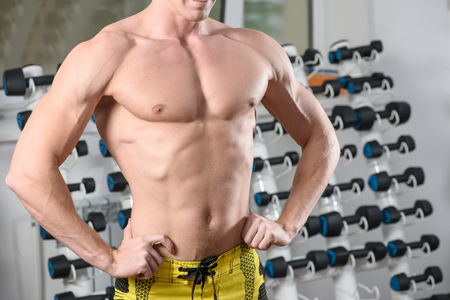 attractive male: Fit bodybuilder posing in gym. Without head. Stock Photo