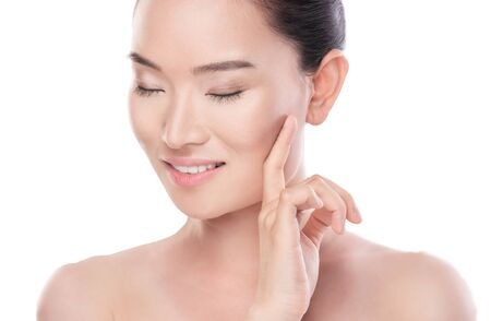 beauty eyes: Beautiful chinese woman isolate on white background Stock Photo