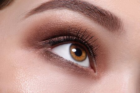 Brown eye with glamour make up close up