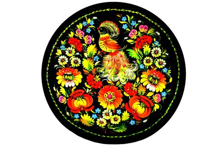 arts, Souvenir - a plate with flowers and birds photo