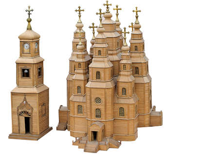 Model of the wooden cathedral, church, church on a white background. A gift, a souvenir.  photo