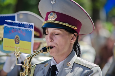 Army, brass band, female, saxophone, performer, one, musician