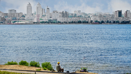 dnepr: River Dnepr  Architecture city Dnepropetrovsk, Ukraine  Fishing, hobby, activity