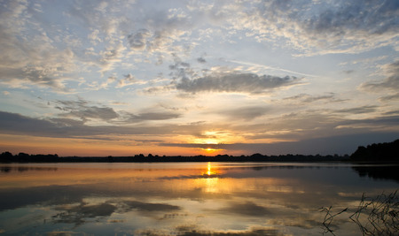 Sunrise over the river Dnieper  Beautiful water landscape  photo
