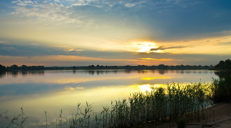 dnieper: Sunrise over the river Dnieper Stock Photo
