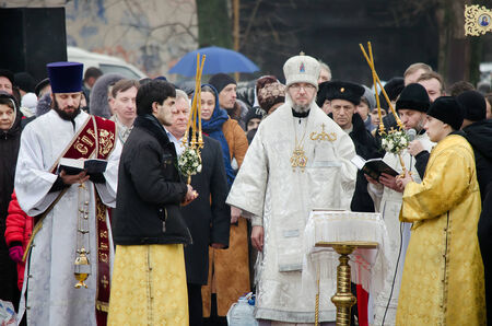 sanctification: Bishop Eulogius Novomoskovskiy sanctifies water in a religious Christian holiday of Epiphany Editorial