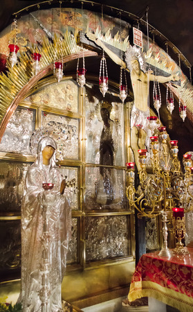 ancient near east: Golgotha , the place of execution   Life-giving Cross of the Lord in the temple of the Holy Sepulchre  Jerusalem   Israel