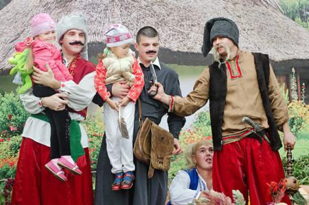 cossacks: Cossacks were holding their children. Ukraine. City Day Novomoskovsk. Editorial