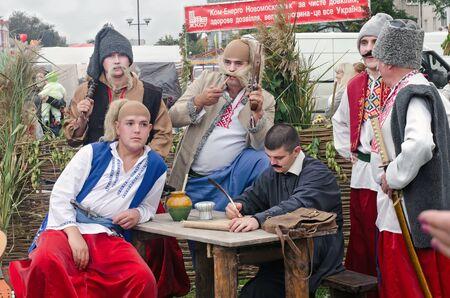 cossacks: Zaporozhye Cossacks Writing a Letter to the Turkish Sultan. Ukraine. City Day Novomoskovsk Dnipropetrovsk region