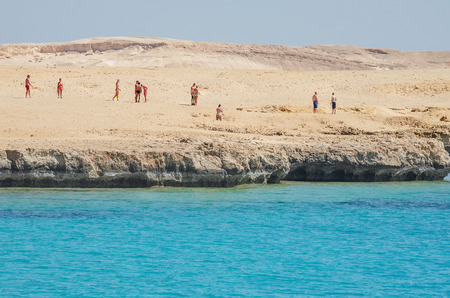 tyrant: Holidaymakers, tourists, traveler on the island of Tiran. Red Sea, Egypt. Africa.