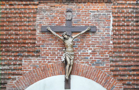 Crucifixion of Jesus Christ on a brick wall in Lviv, Ukraine
