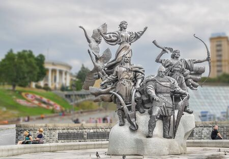 founders: Monument to the founders of Kiev on Independence Square in Kiev. Brothers Kyi, Cheek, Horeb and their sister Lybid Editorial