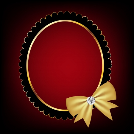 satin round: vintage frame with bow vector illustration