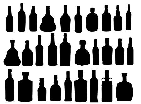vector illustration silhouette alcohol bottle Stock Vector - 15813353