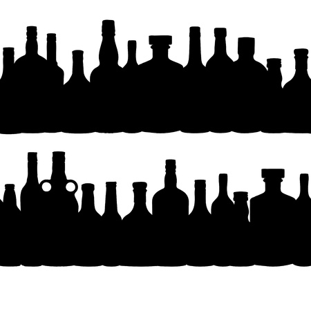 vector illustration silhouette alcohol bottle seamless pattern Vector