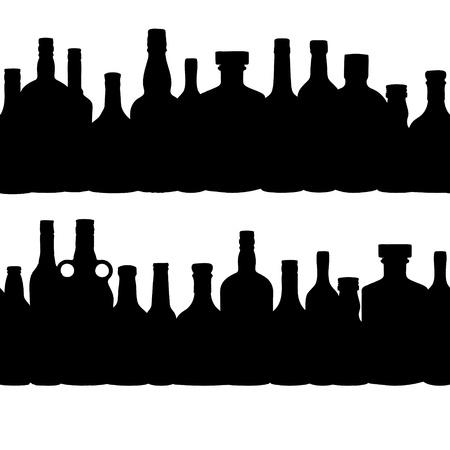 vector illustration silhouette alcohol bottle seamless pattern Stock Vector - 15813350