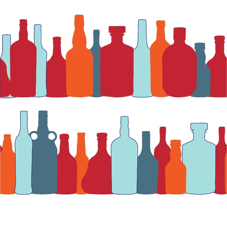 vector illustration silhouette alcohol bottle seamless pattern Stock Vector - 15813354