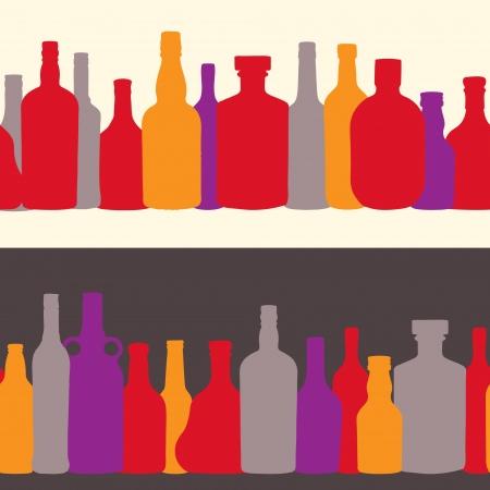 vector illustration silhouette alcohol bottle seamless pattern Stock Vector - 15813352