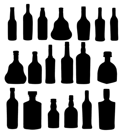 vector illustration silhouette alcohol bottle Stock Vector - 15813349