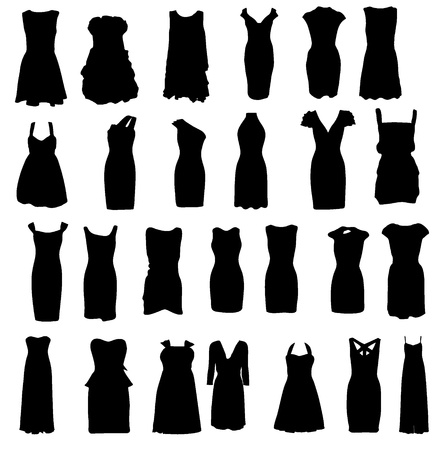 white dress: Set of dresses silhouette isolated on white background