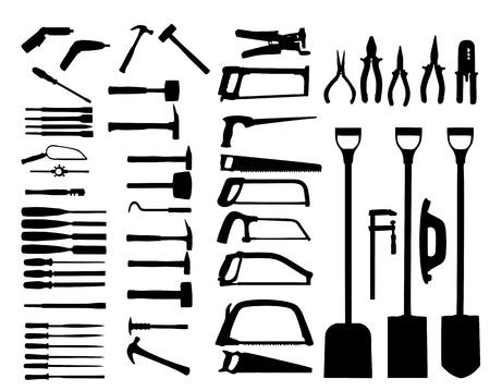 power shovel: 전동 공구, 삽, 드릴, 망치의 집합입니다. 벡터 아이콘