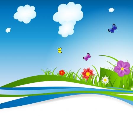 Natural floral background vector illustration Stock Vector - 15813389