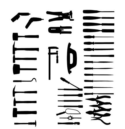 gimlet: Set of power tools, shovel, drill, hammer  Vector icon