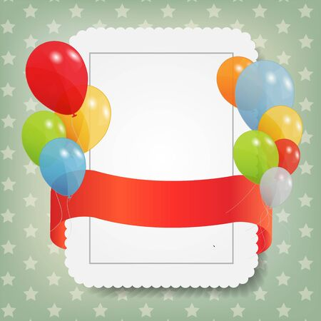 birthday card with colored ballons, vector illustration Stock Vector - 15924004