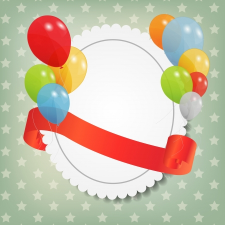 birthday card with colored ballons, vector illustration Stock Vector - 15924005