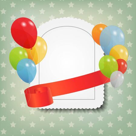 birthday card with colored ballons, vector illustration Stock Vector - 15924007