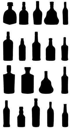 vector illustration silhouette alcohol bottle Vector